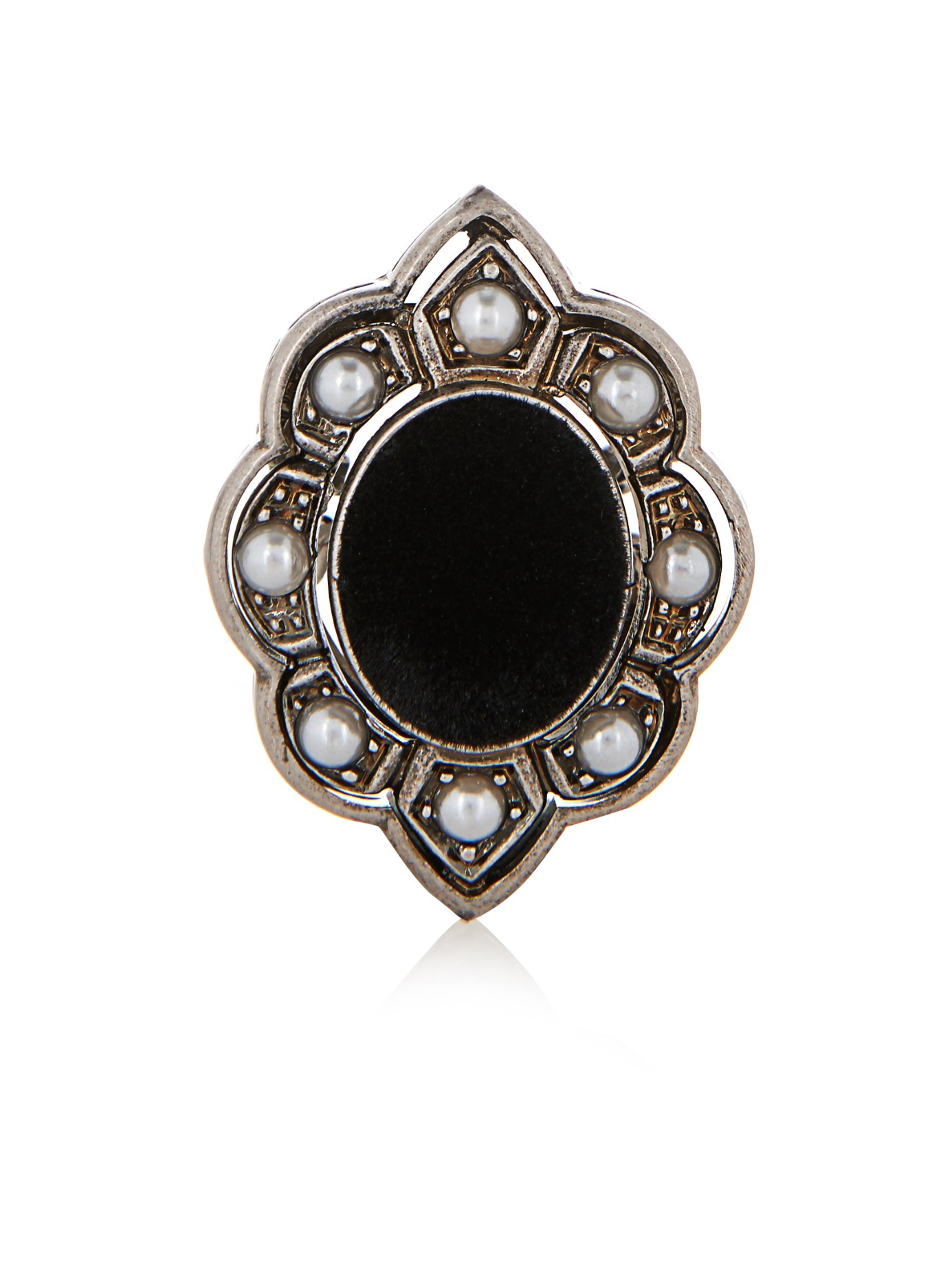 Gucci Pearl Velvet And Palladium Plated Ring In Black Lyst