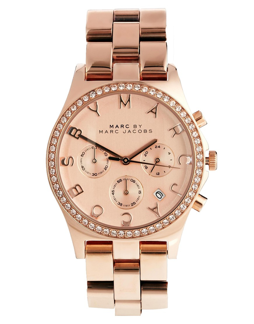 marc by marc jacobs henry glitz rose gold watch in pink