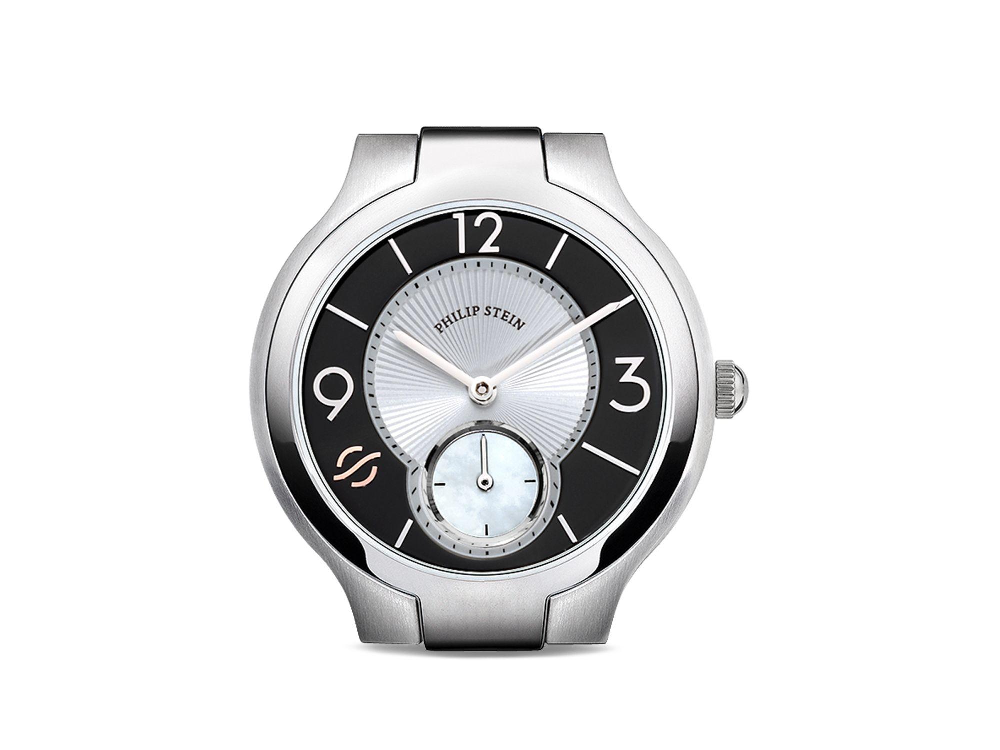 Lyst philip stein small round stainless steel watch head 36mm in metallic for Philip stein watches