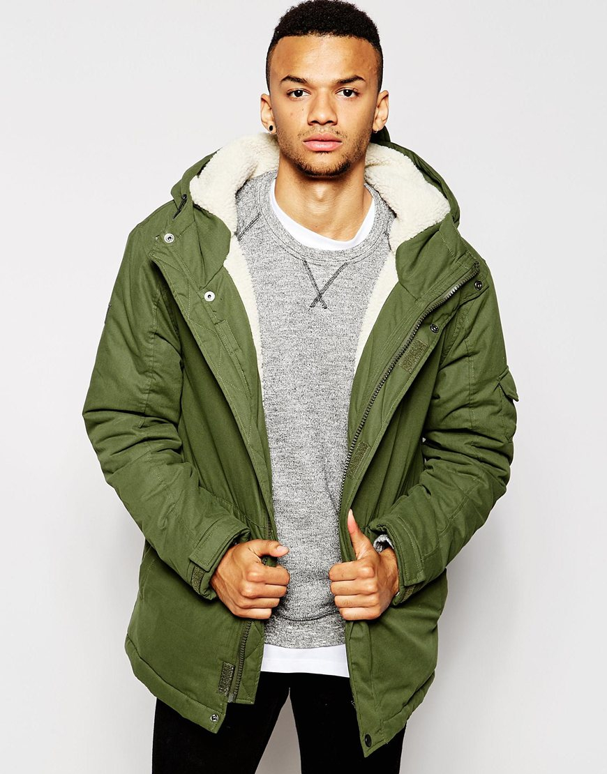 D-struct Stirling Sherpa Lined Parka Jacket in Green for Men | Lyst