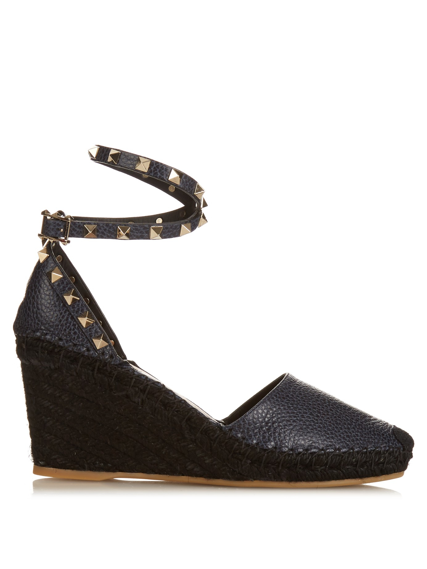 5160492fa5cf Lyst - Valentino Rockstud Leather Wedge Espadrilles in Blue