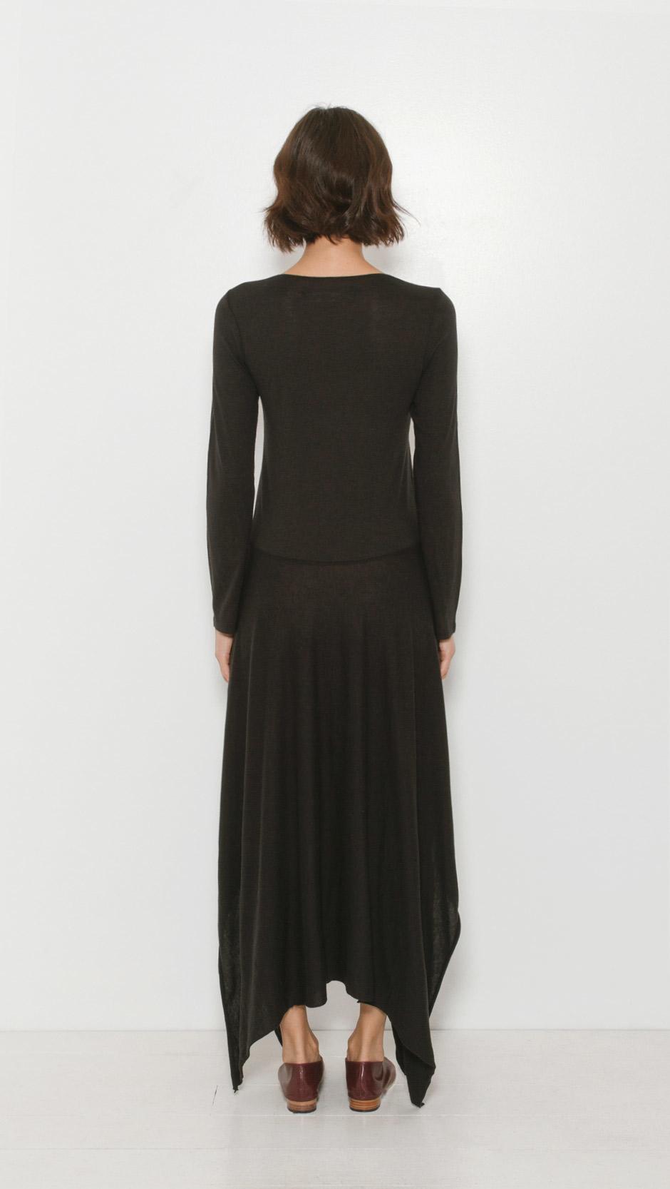 Raquel allegra long sleeve handkerchief dress in black lyst for Adam lippes women s long sleeve vee t shirt