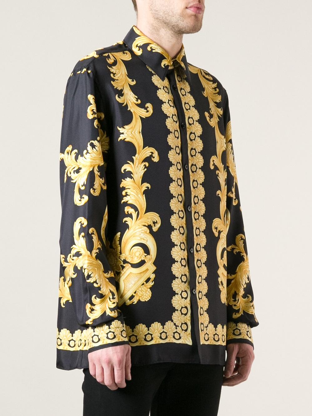 Lyst - Versace Baroque Print Shirt in Black for Men