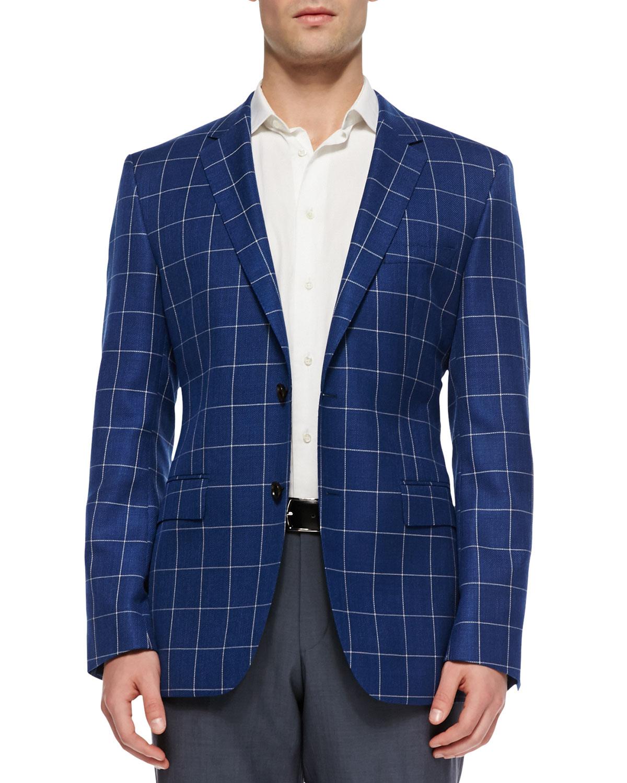 boss by hugo boss windowpanecheck sport coat blue in blue. Black Bedroom Furniture Sets. Home Design Ideas