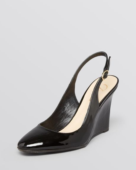 delman slingback wedge pumps rosa in black black patent
