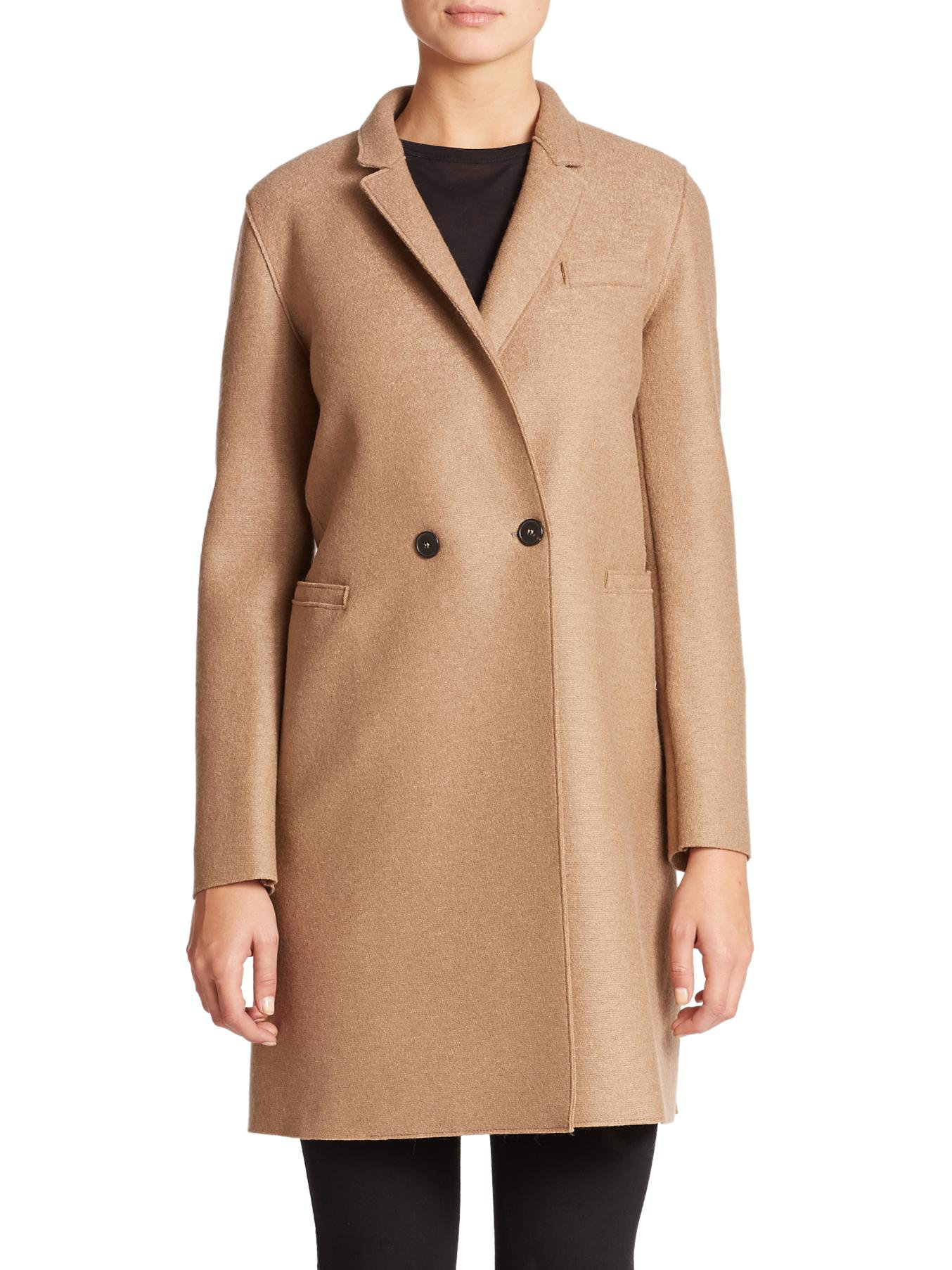 harris wharf london wool double breasted coat in beige camel lyst. Black Bedroom Furniture Sets. Home Design Ideas