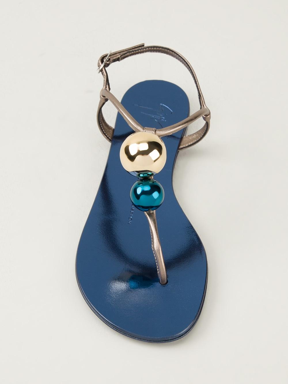 Lyst Giuseppe Zanotti Ball Detail Sandals In Blue