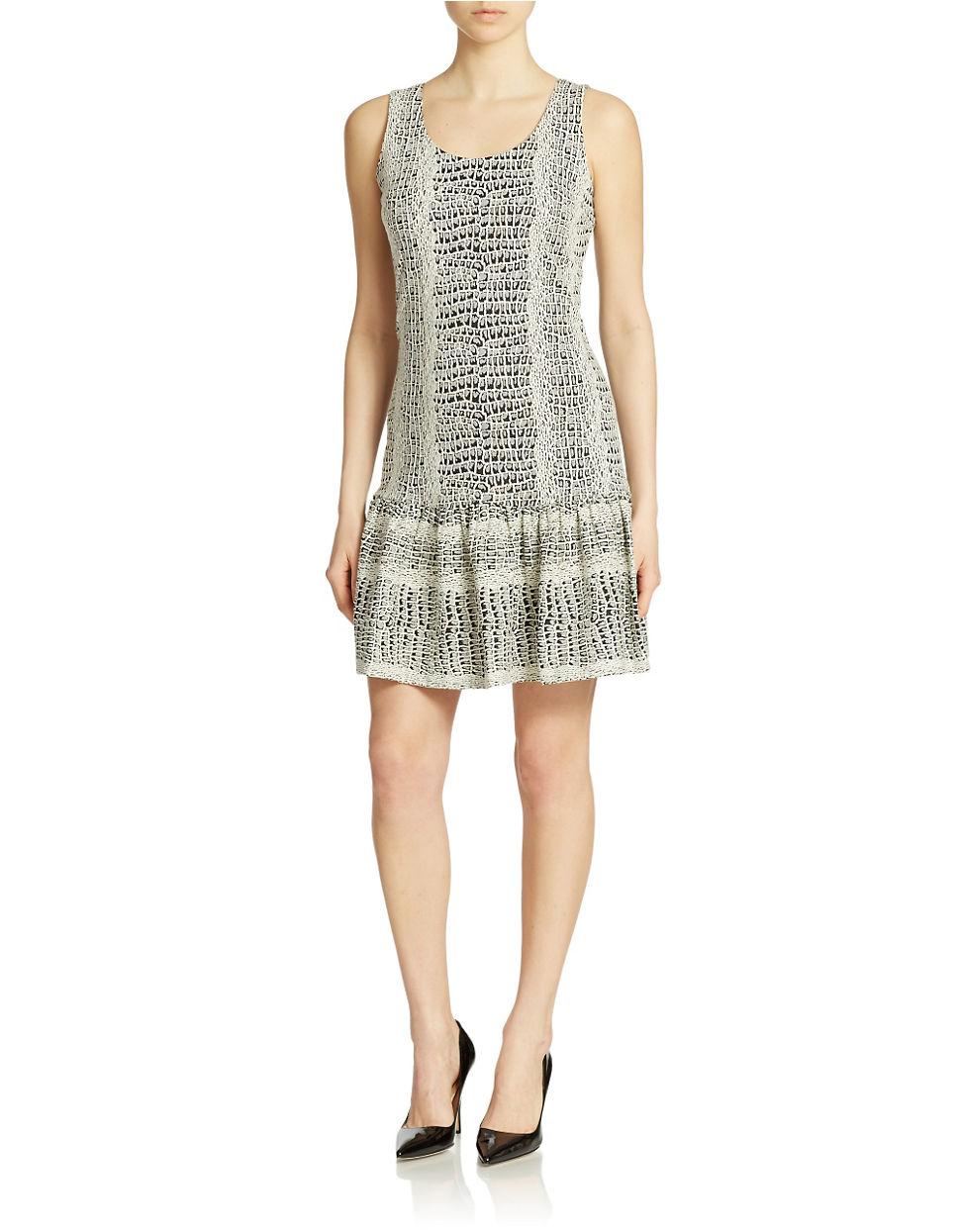 Ivanka trump Printed Drop Waist Dress   Lyst
