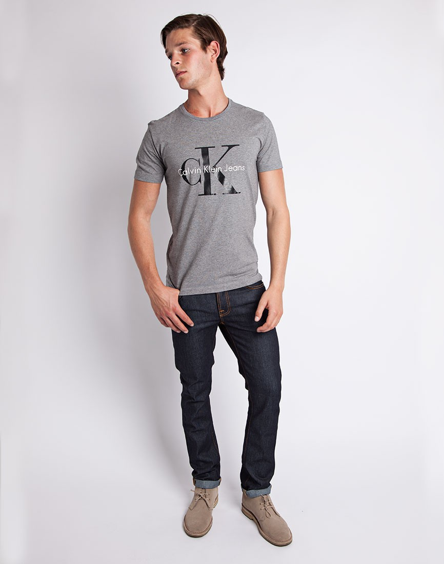 calvin klein jeans classic t shirt grey in gray for men lyst. Black Bedroom Furniture Sets. Home Design Ideas