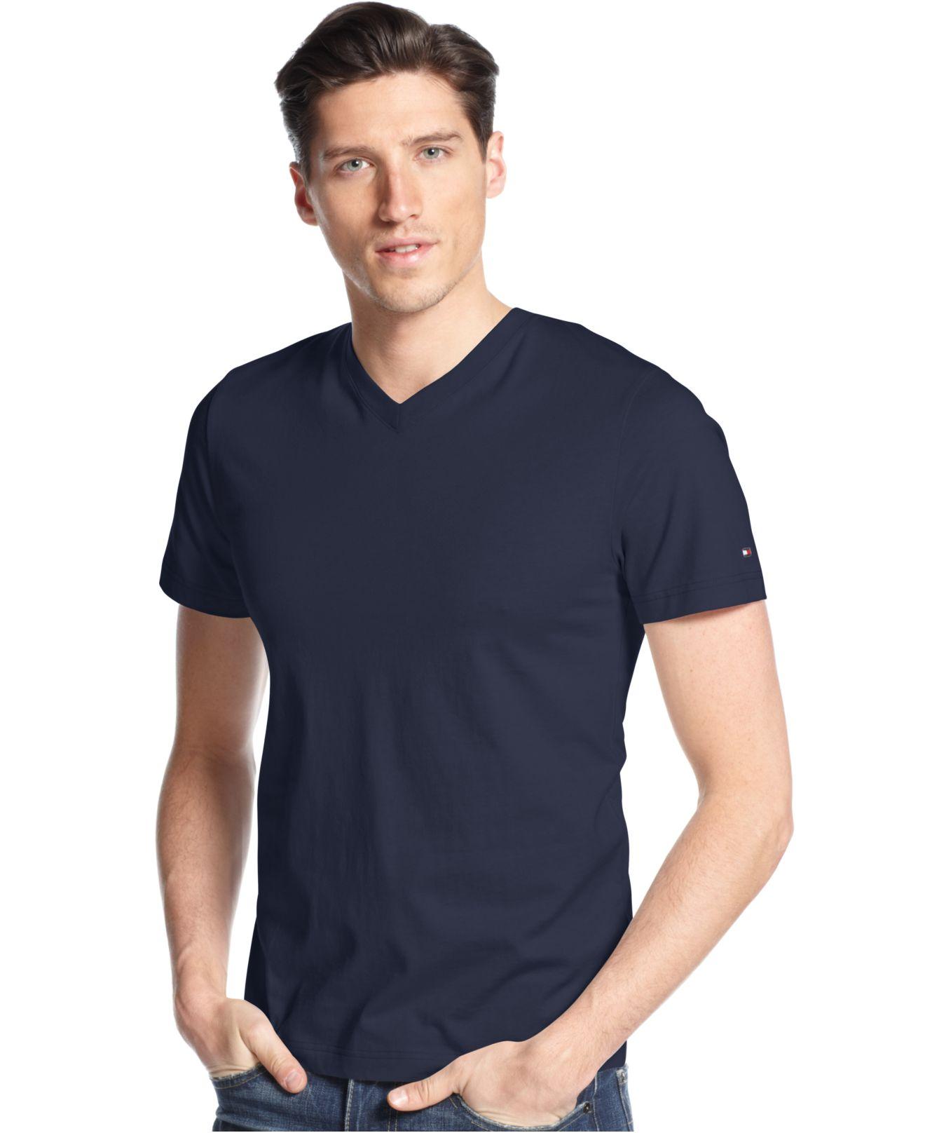 tommy hilfiger men 39 s elmira v neck t shirt in blue for men. Black Bedroom Furniture Sets. Home Design Ideas