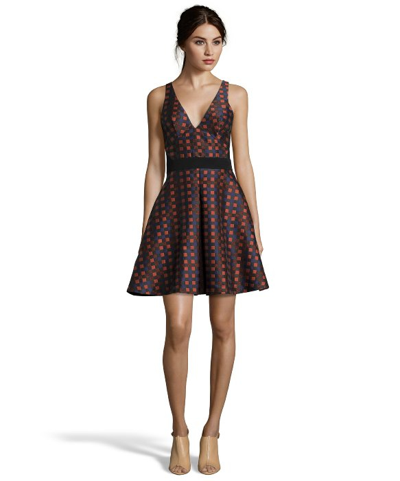 Abs by allen schwartz Rust And Black Checkered Crepe V-neck ...