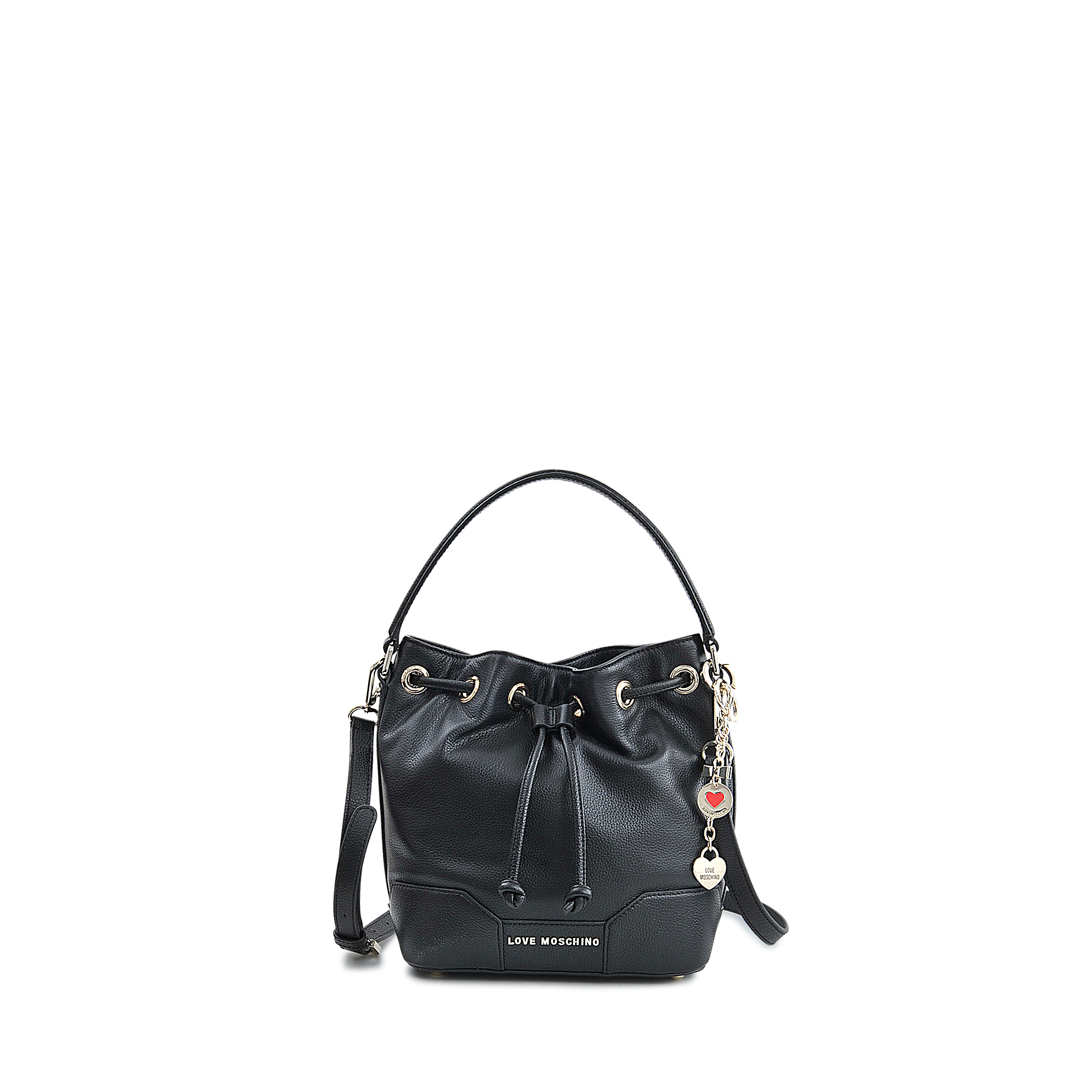 628ce191a Love Moschino Leather Lock Heart Bucket Bag in Black - Lyst