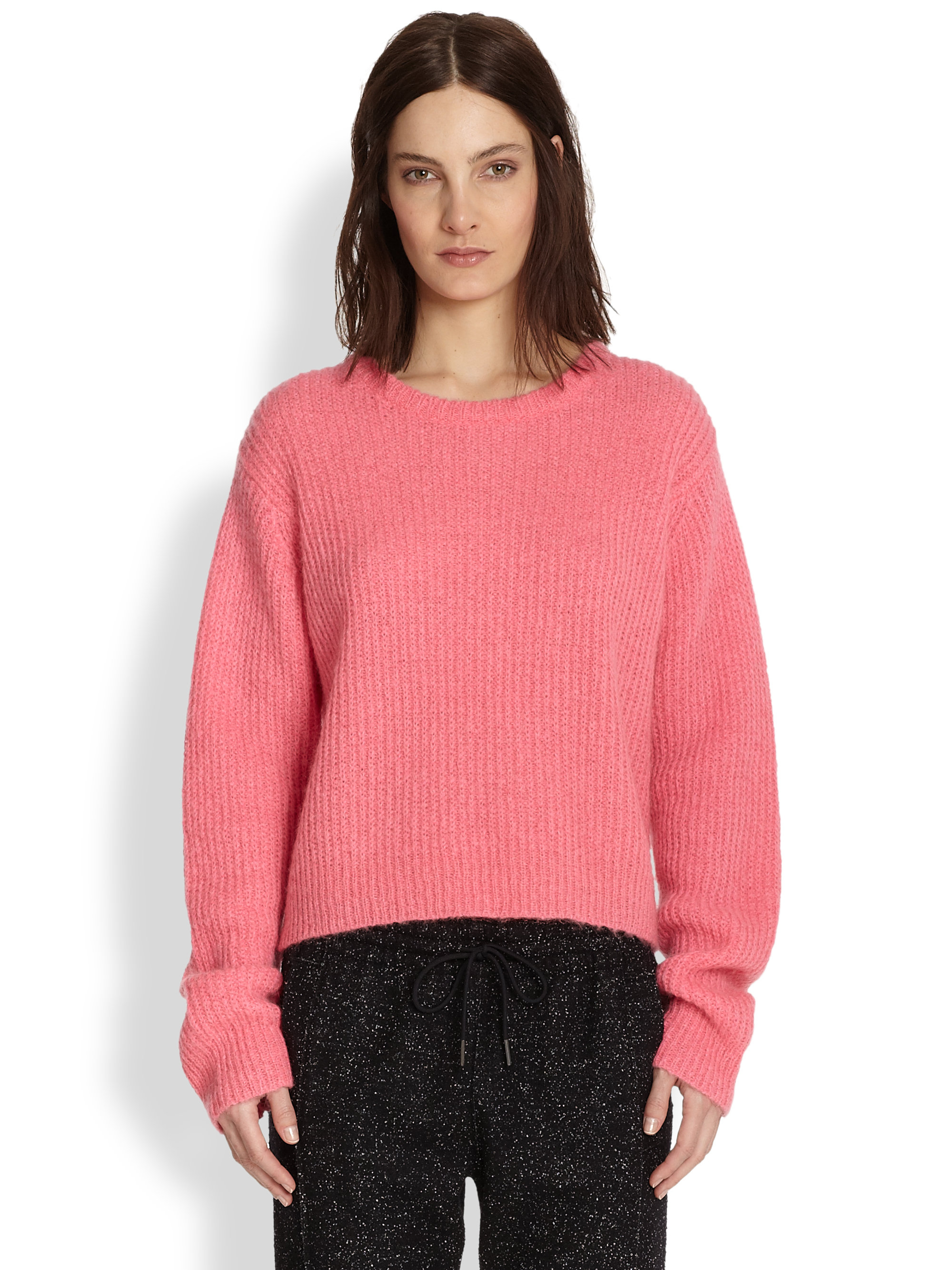 T by alexander wang Oversized Ribbed Sweater in Pink | Lyst