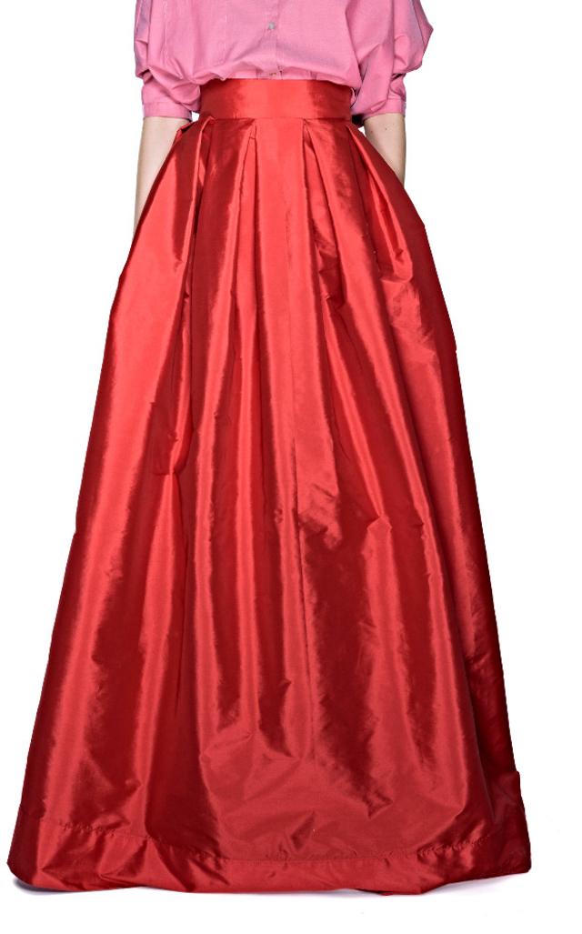 Sandra Weil Qhatu Rust Red Taffeta Maxi Skirt In Red Lyst