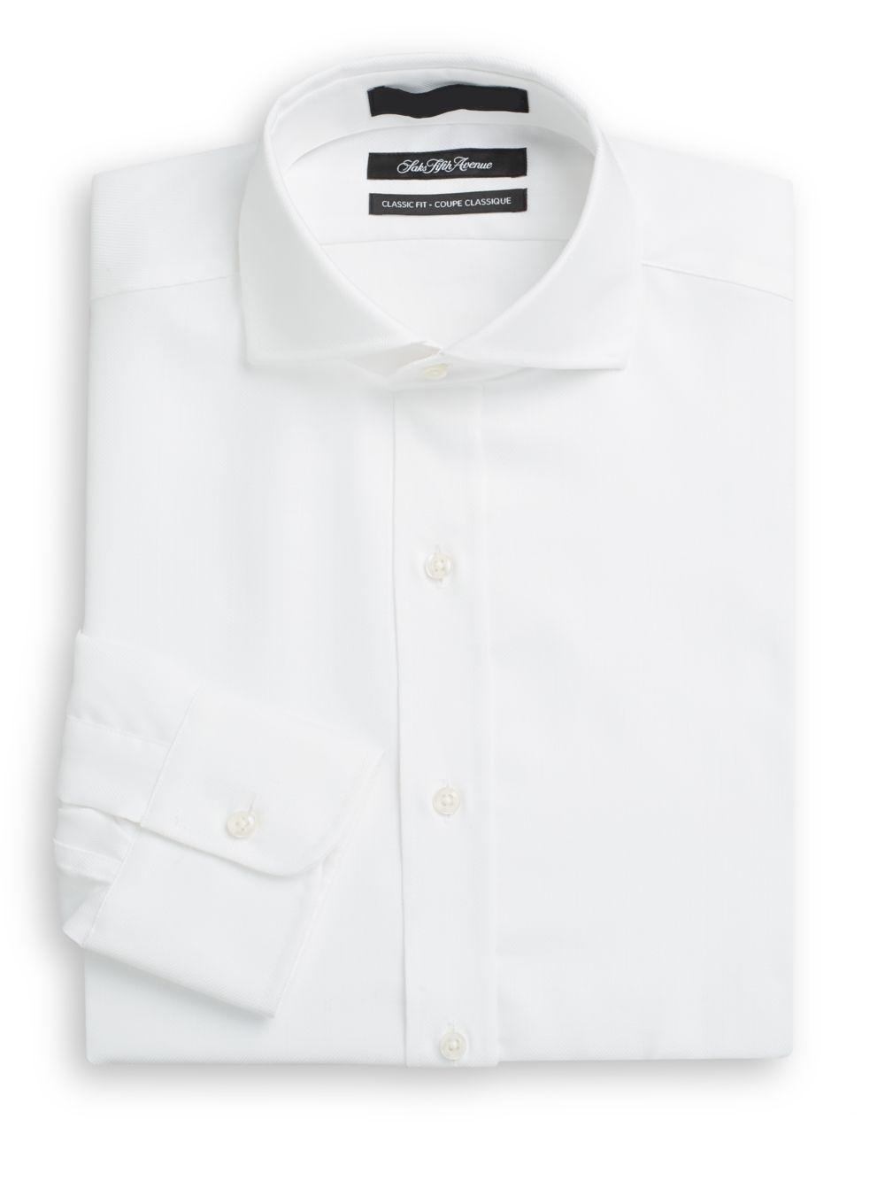 Saks fifth avenue classic fit herringbone dress shirt in for White herringbone dress shirt