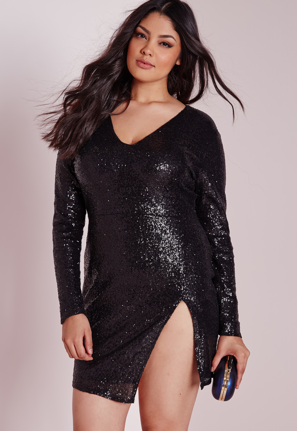 Missguided Plus Size Sequin Long Sleeve Mini Dress Black in Black ...