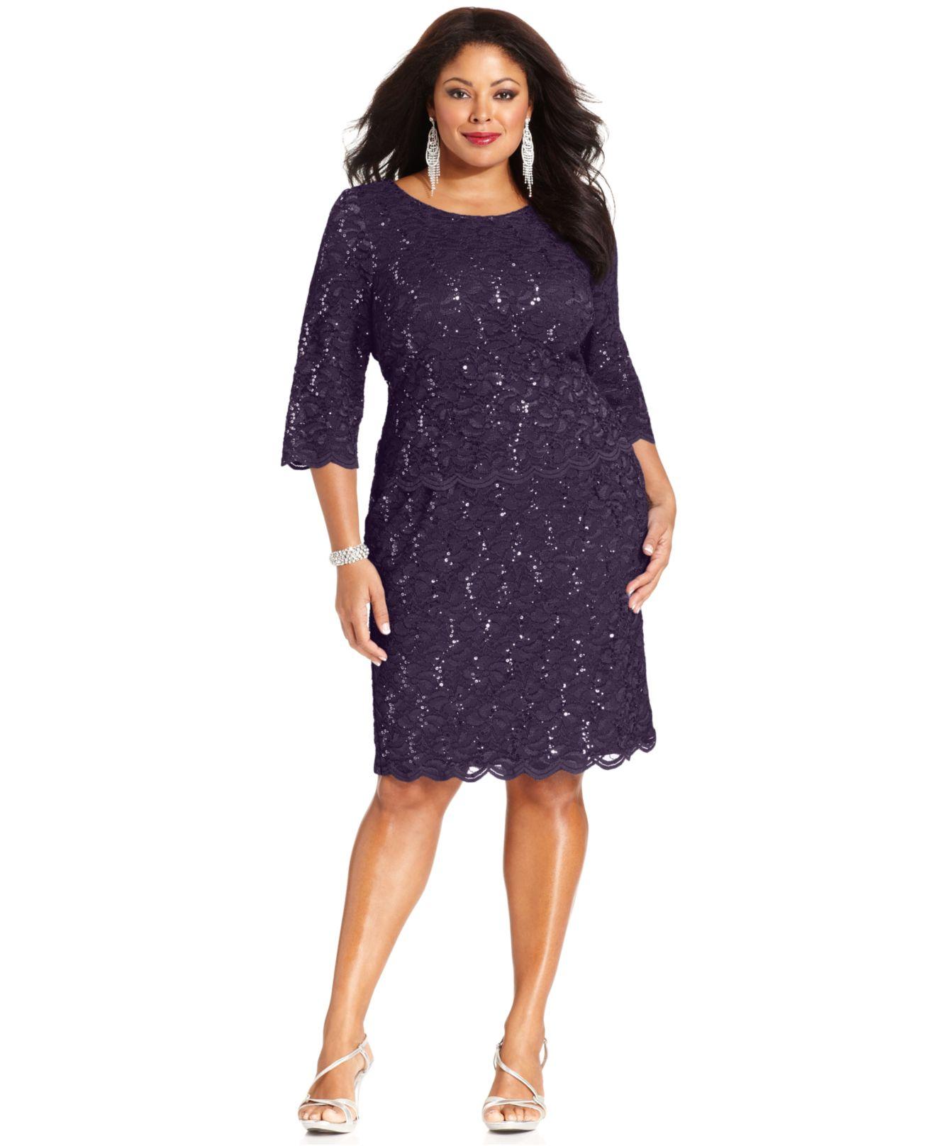 Alex Evenings Plus Size Sequined Lace Dress in Purple - Lyst