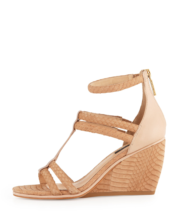 clearance best place visit new for sale Rachel Zoe Nancy Snakeskin Wedge Sandals buy cheap newest dzvWPBr55