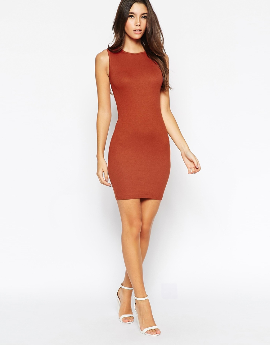 Lyst Asos Sleeveless Rib Bodycon Mini Dress In Brown