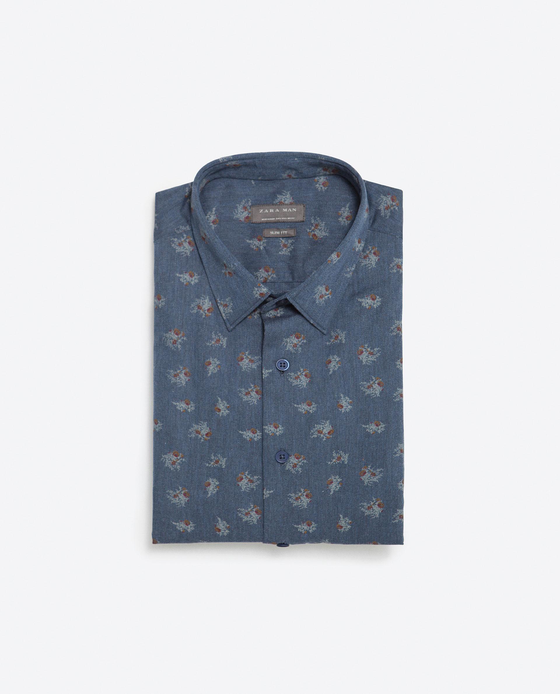 Zara floral shirt in blue for men lyst for Zara mens floral shirt