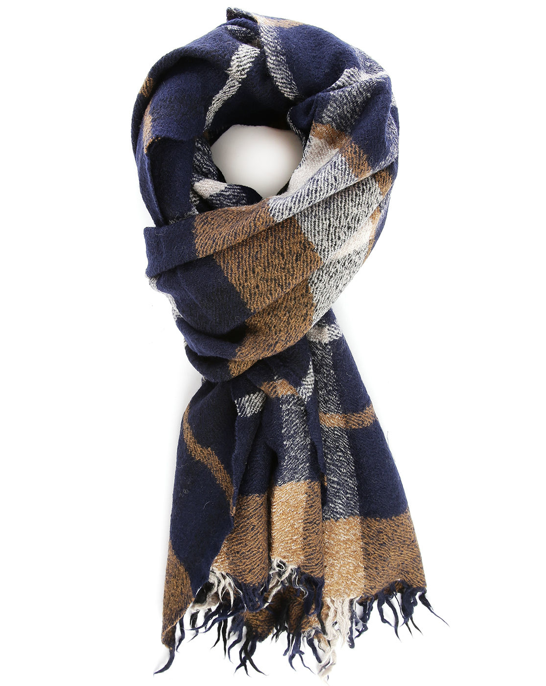 closed navy checked scarf in blue for lyst