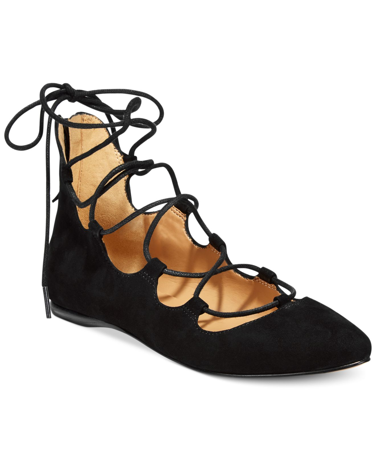 Lyst Nine West Signmeup Lace Up Flats In Black