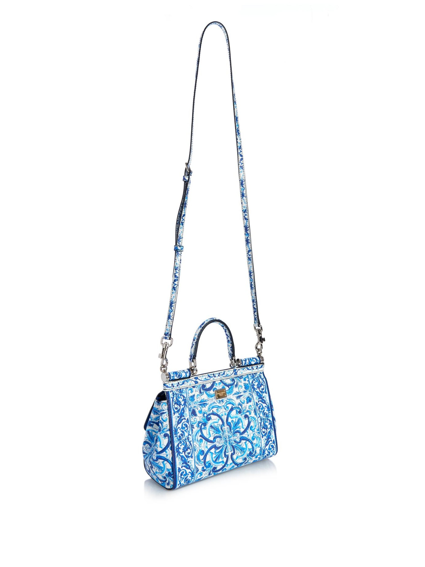 852231eacc Lyst - Dolce   Gabbana Mini Sicily Majolica-Print Leather Cross-Body ...
