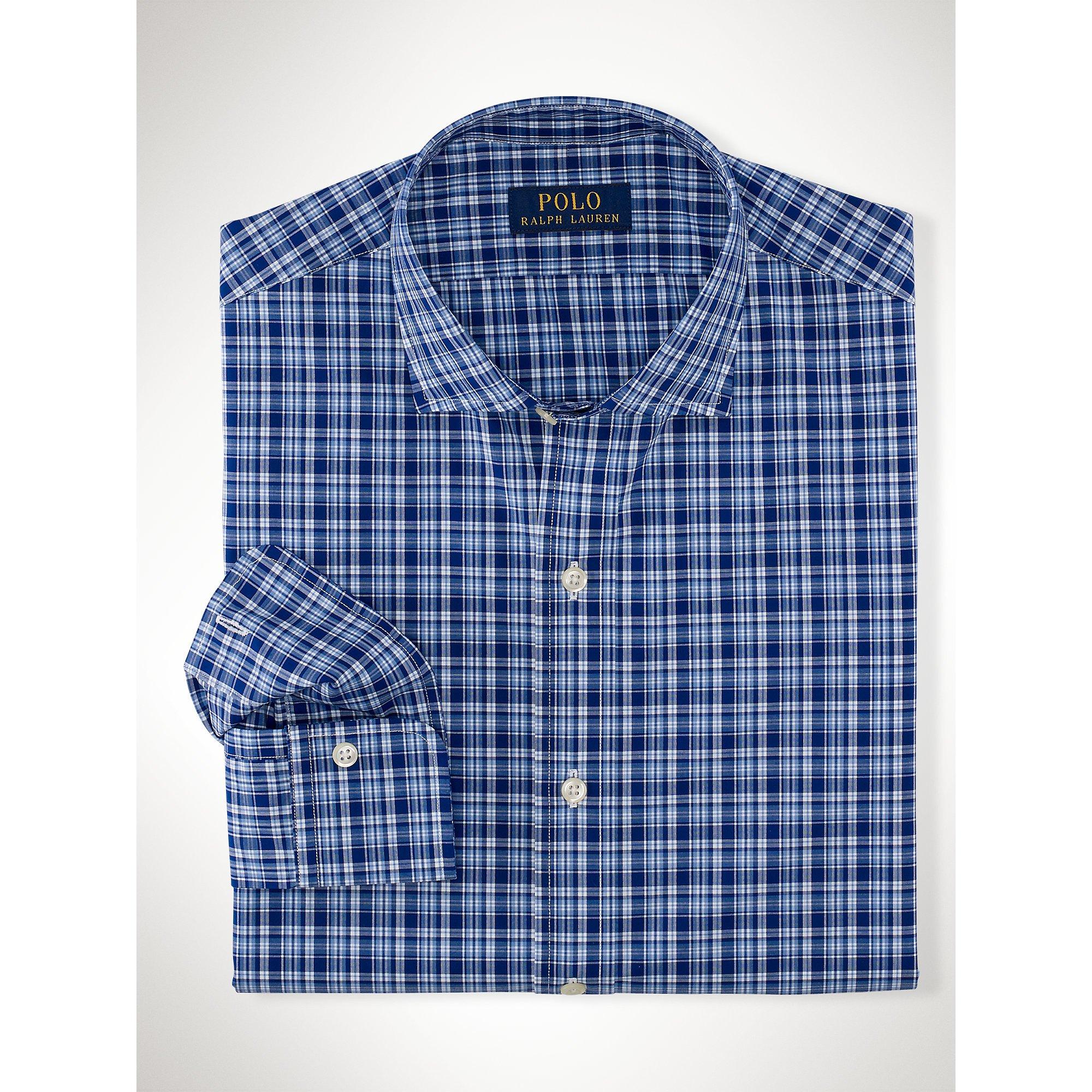 Lyst polo ralph lauren plaid cotton poplin shirt in blue for Navy blue plaid shirt