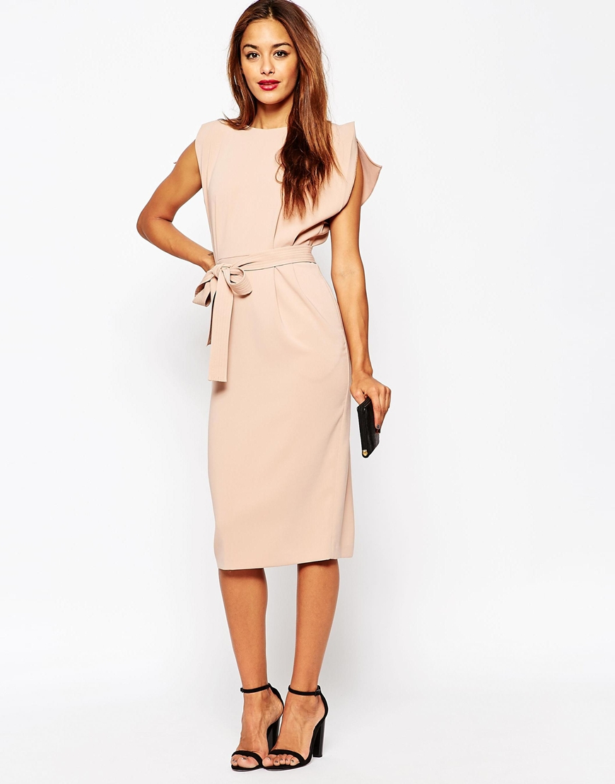 Asos Belted Dress With Split Cap Sleeve And Pencil Skirt -3678