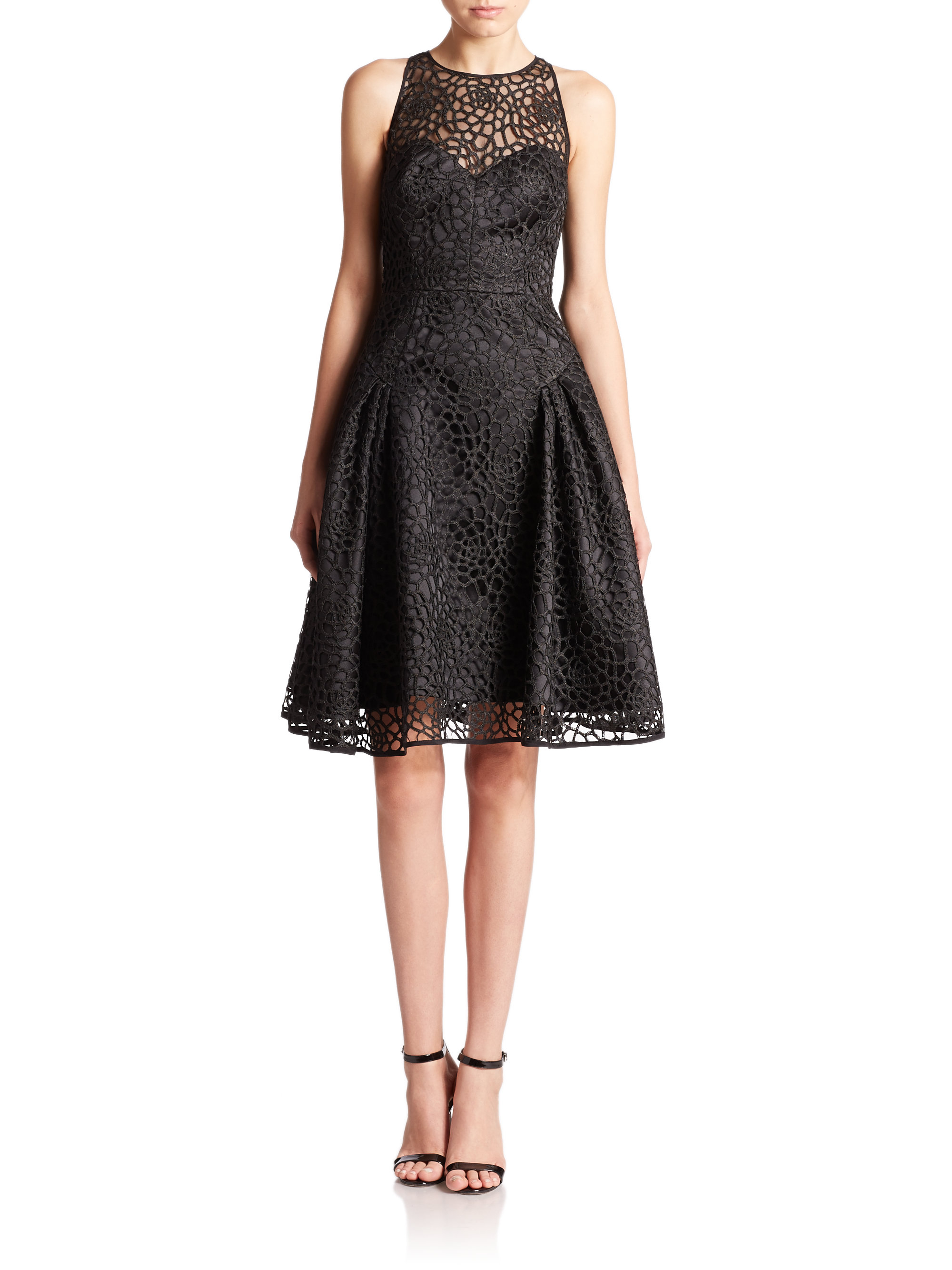Lyst Milly Nicola Floral Lace Cocktail Dress In Black