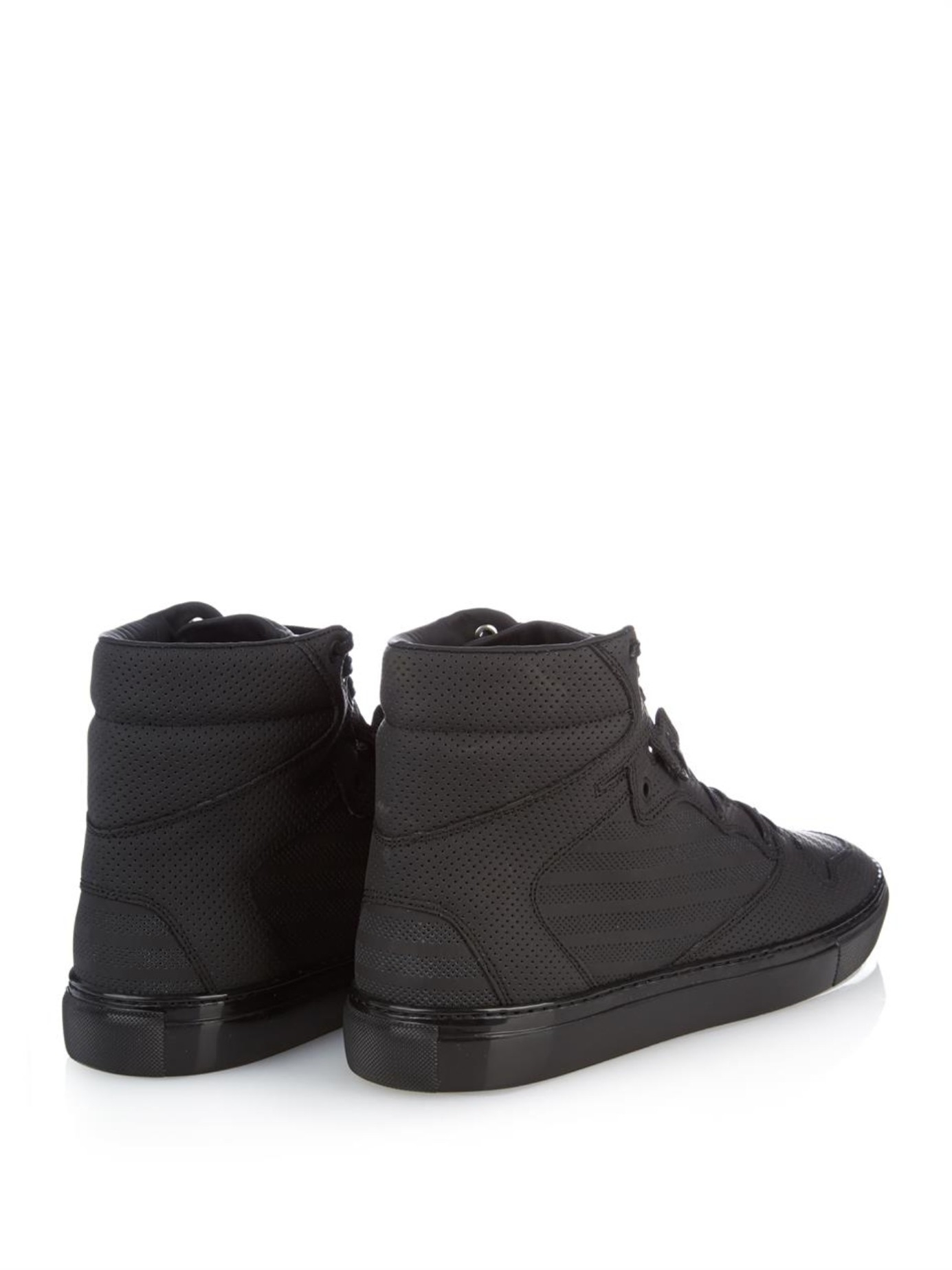 1880c2309bd45 Lyst - Balenciaga Monochrome Perforated High-Top Trainers in Black ...