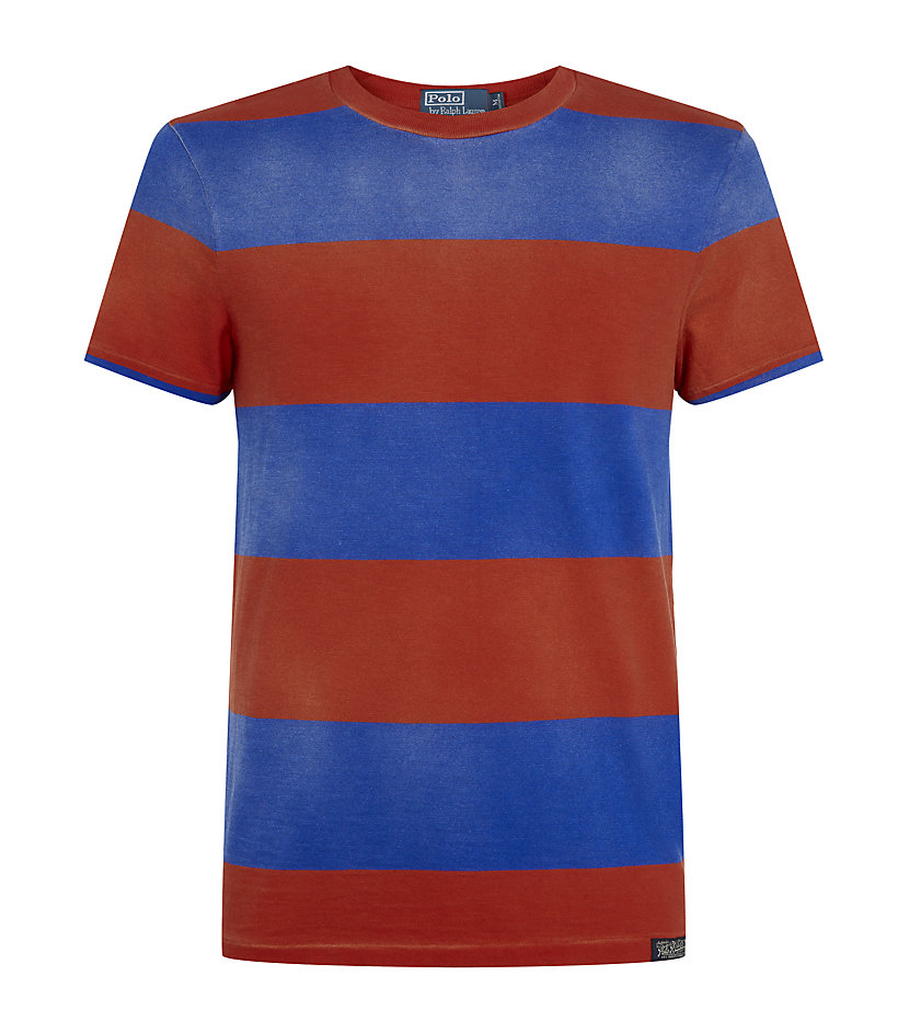 Polo ralph lauren custom fit striped tshirt in blue for for Custom fit t shirts