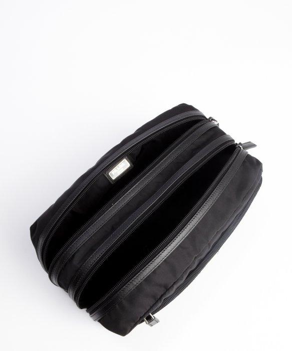 Prada Black Nylon Leather Trim Logo Detail Dopp Kit in Black for ...