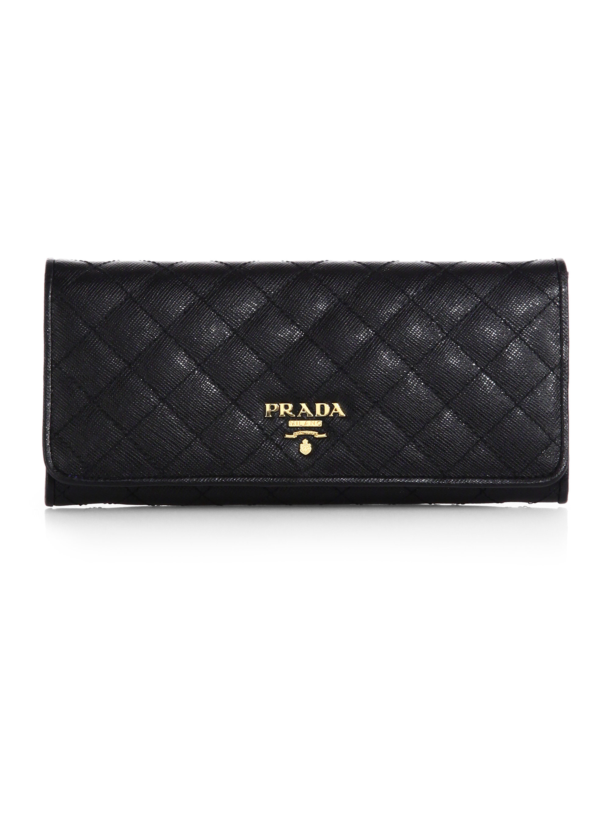 Prada Quilted Saffiano Continental Wallet in Black (NERO-BLACK) | Lyst
