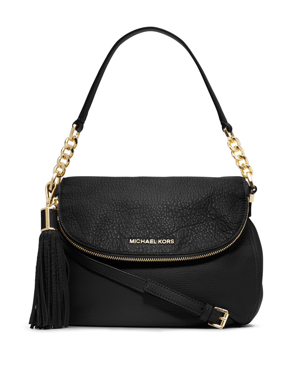 michael michael kors bedford medium tassel convertible shoulder bag in black lyst. Black Bedroom Furniture Sets. Home Design Ideas