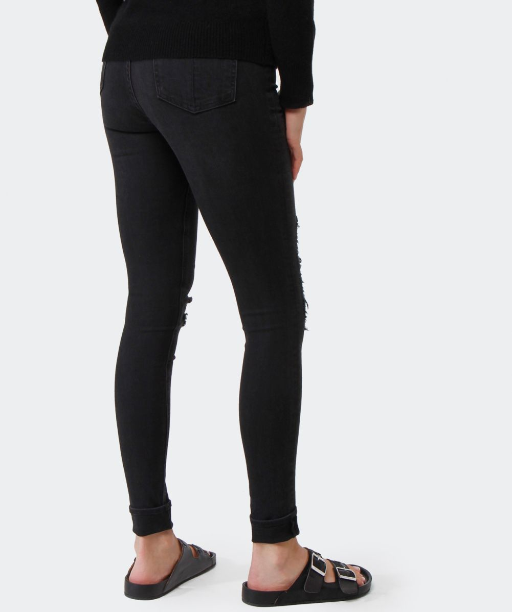 Rag & bone High Rise Ripped Jeans in Black | Lyst
