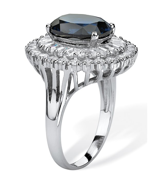 Lab Created Sapphire Ring Oval Cut Sterling Silver