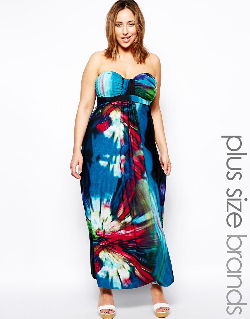 AX Paris Plus Size Tropical Print Maxi Dress in Blue - Lyst