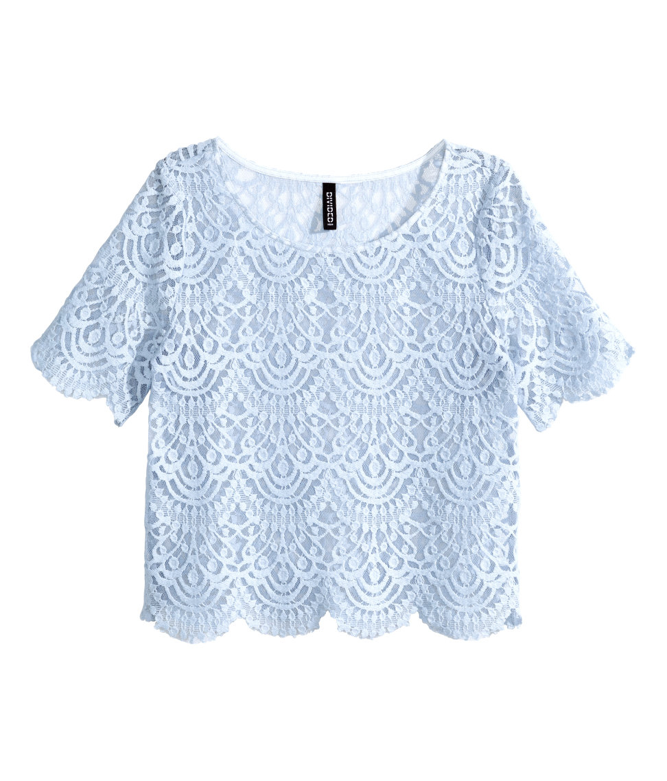 Lyst H M Lace Top In Blue