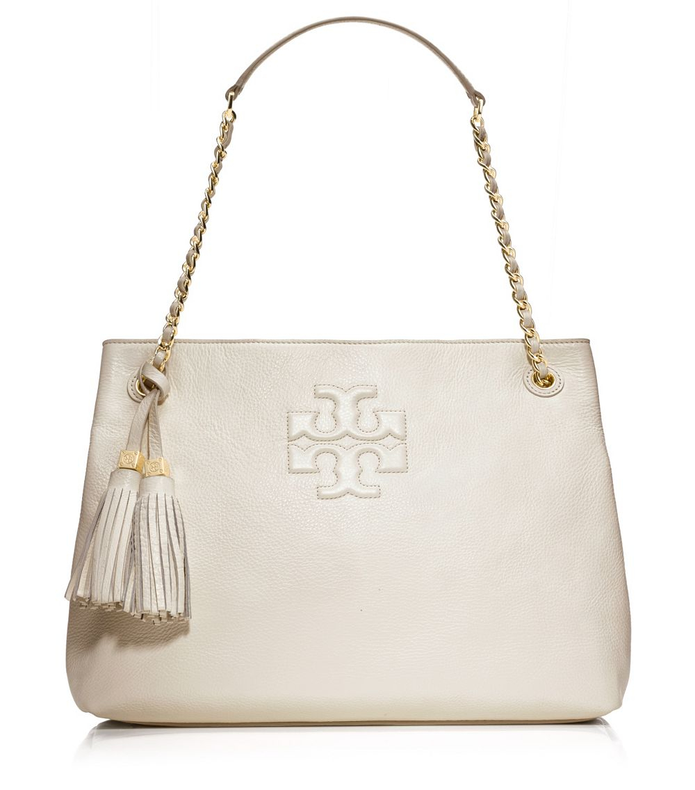 b00888510ec2 Lyst - Tory Burch Thea Chain Shoulder Slouchy Tote in White