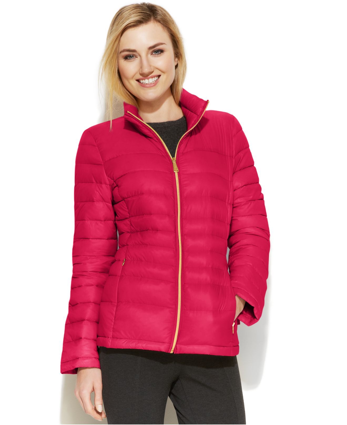 Lyst Calvin Klein Quilted Packable Down Puffer Coat In Red