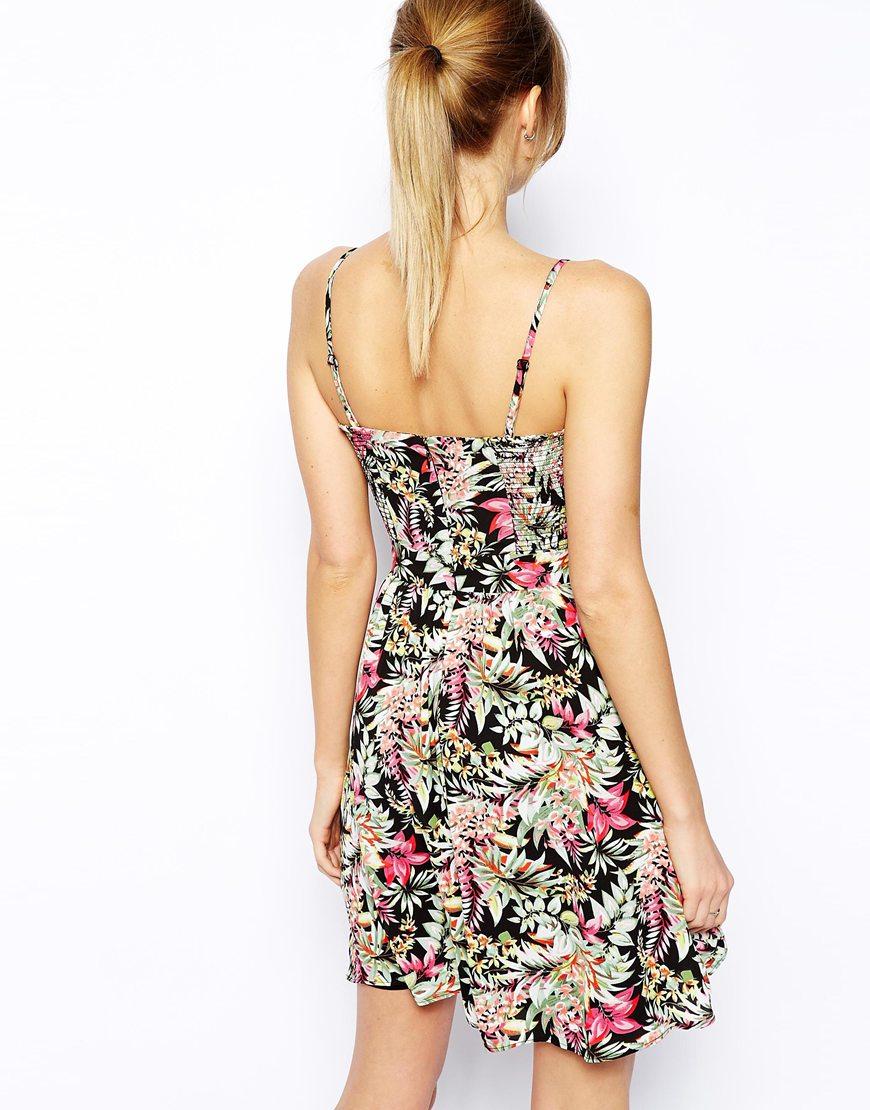 oasis hawaiian tropical print bandeau dress