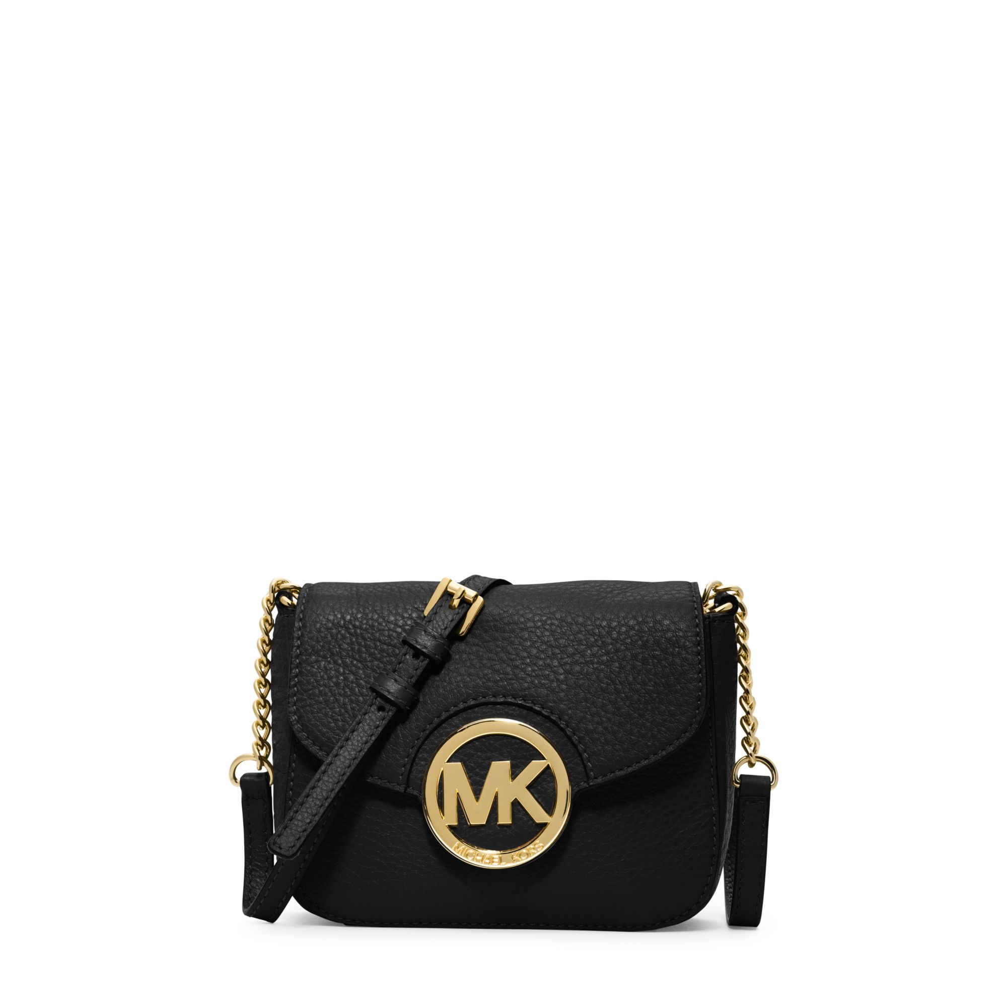michael kors fulton leather small crossbody in black lyst. Black Bedroom Furniture Sets. Home Design Ideas