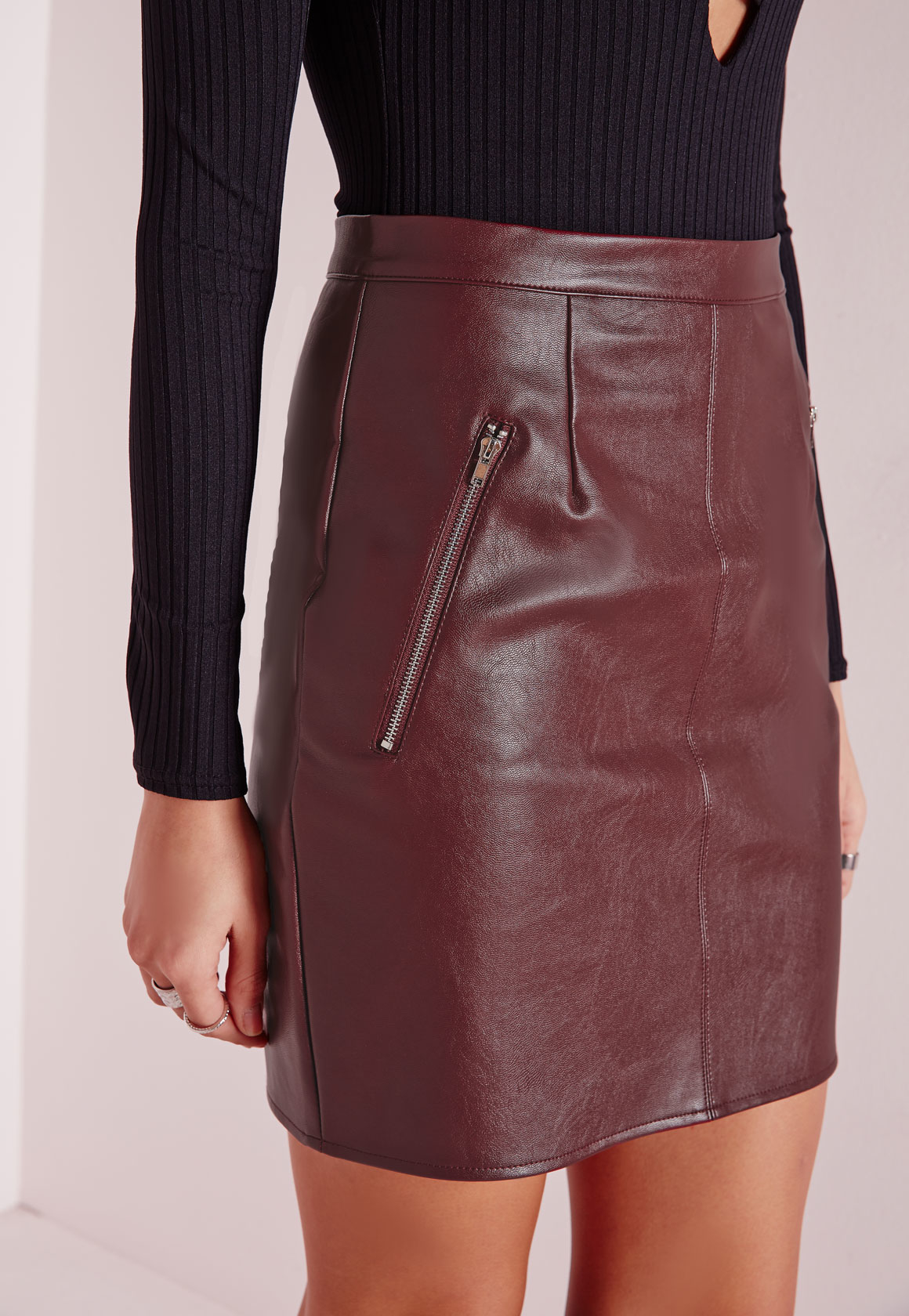 Missguided Zip Detail Faux Leather Mini Skirt Burgundy in Red | Lyst