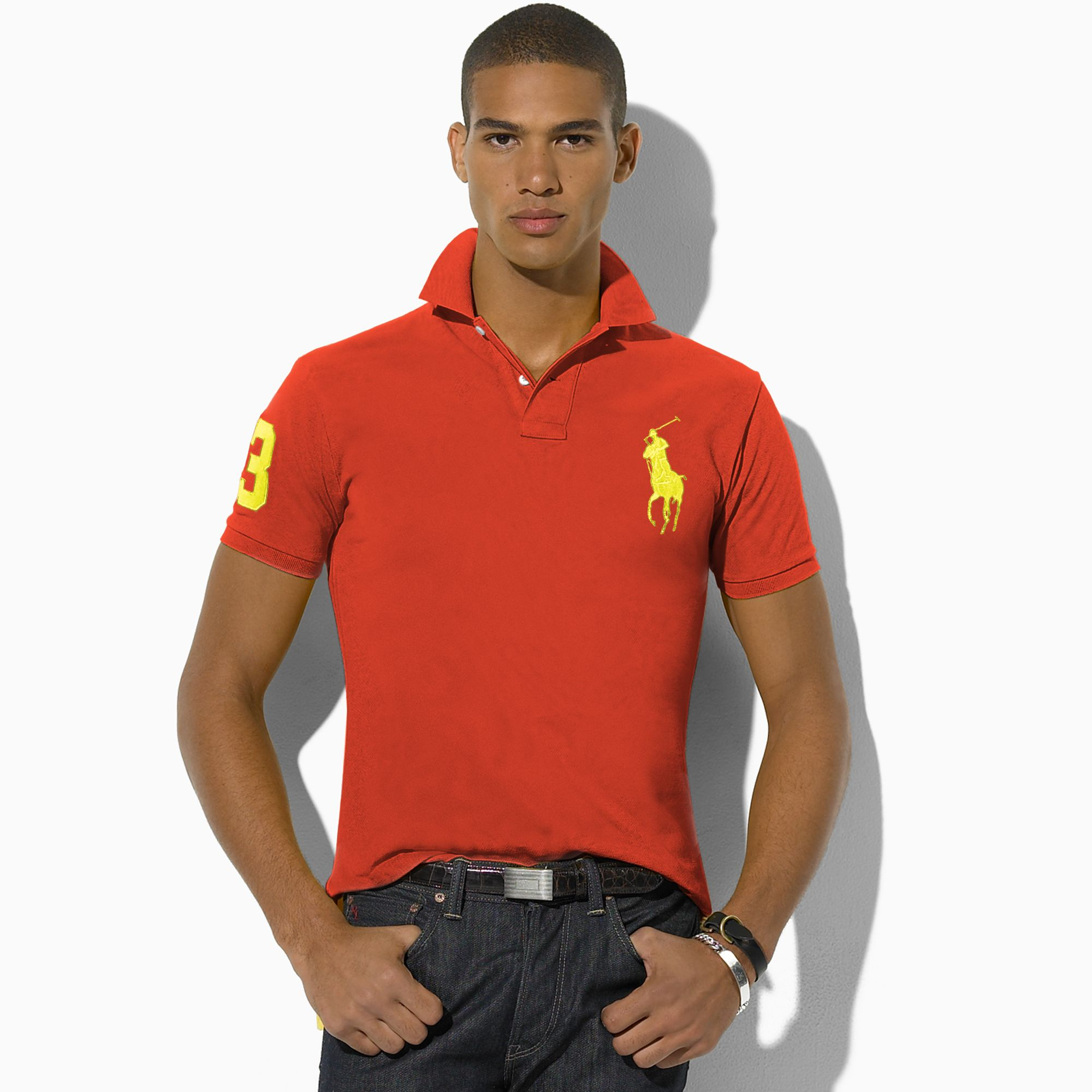 Ralph Lauren Men 2 Big Pony Polo Red Yellow .