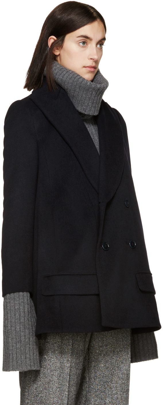 Undercover Navy Wool Flared Coat in Blue | Lyst