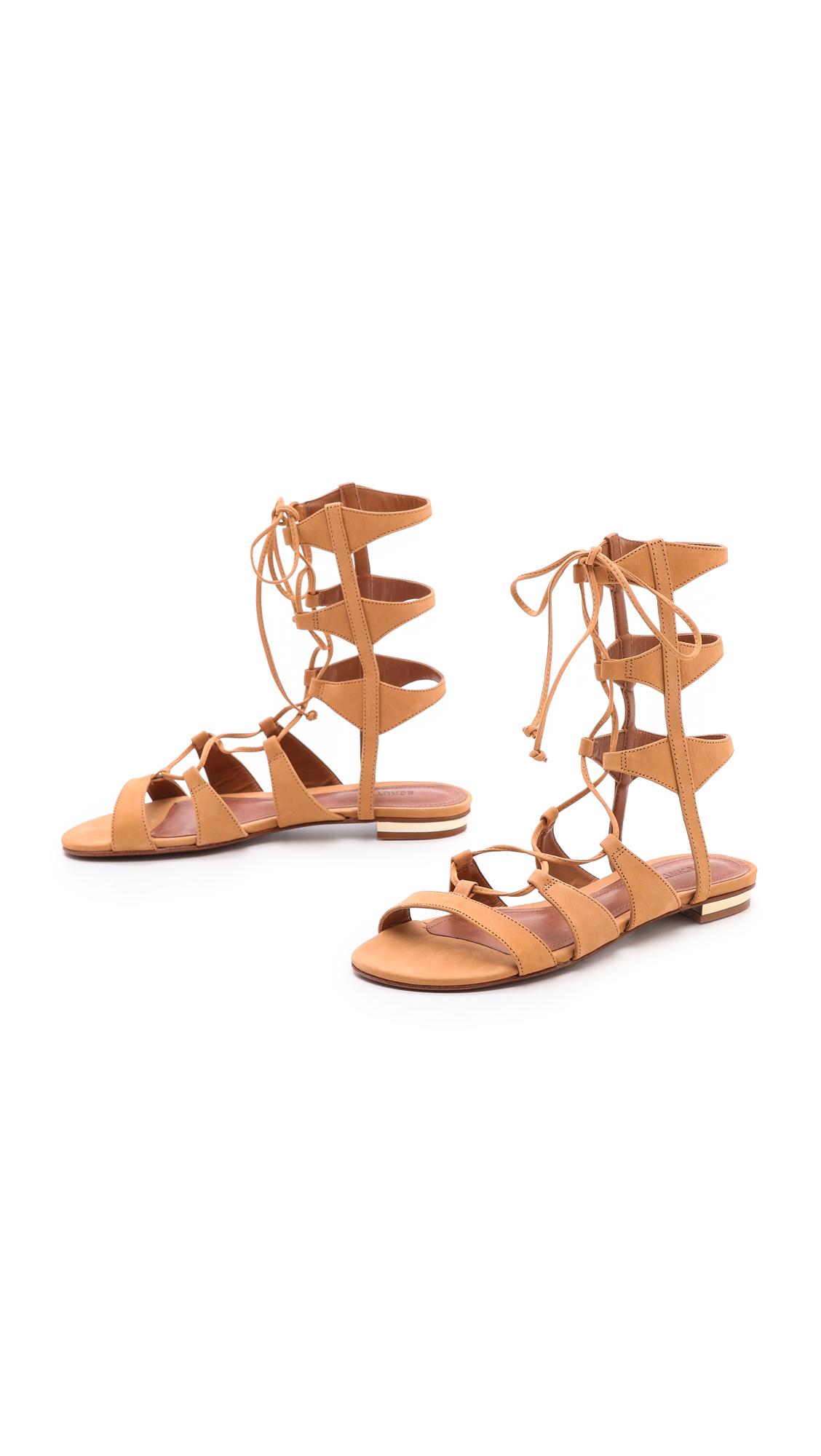 Lyst Schutz Erlina Flat Lace Up Sandals In Orange