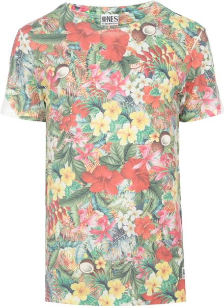 river island green ones supply co hawaiian print tshirt in