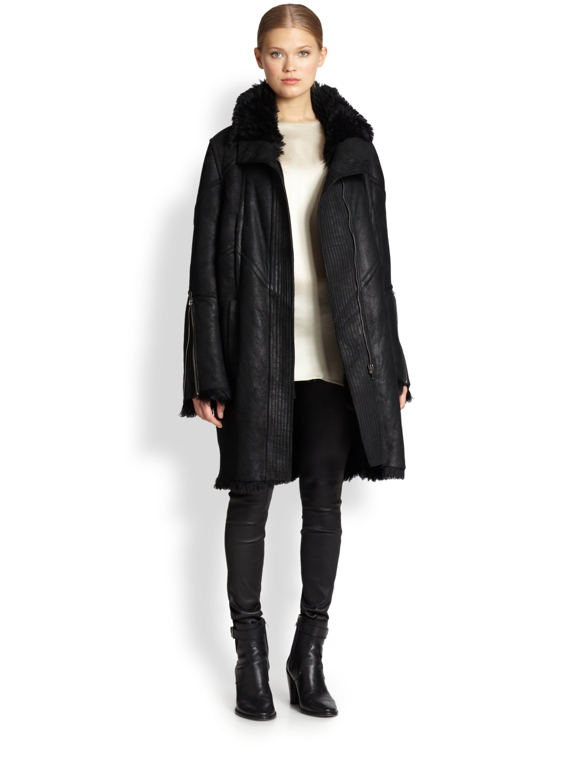 Helmut lang Tuft Shearling Coat in Black | Lyst