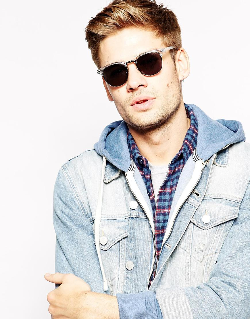 Lyst - Asos Clubmaster Sunglasses With Clear Frame in Gray for Men